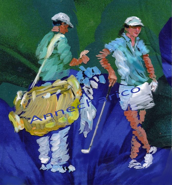 Pro Woman Golfer and Caddy - artistcollection