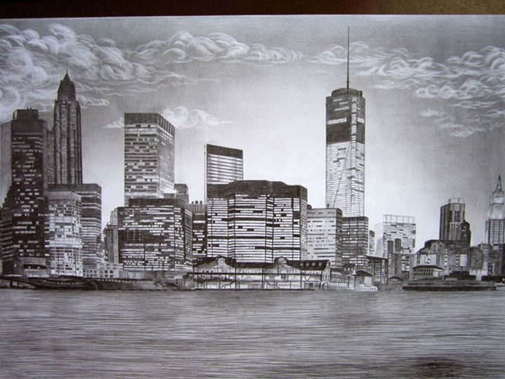 New York - Original drawn New York with pencil, size 39x27in