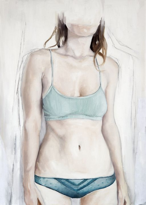 Young Woman in Green Lingerie. - Elna Romanov