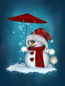 Little Snowman in red