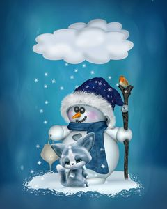 Little Snowman in blue