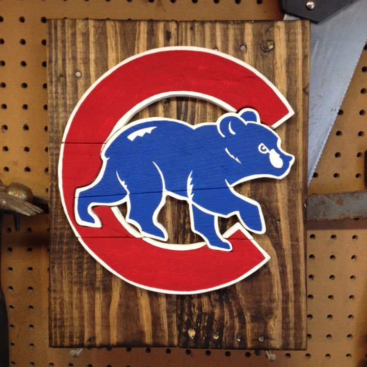 Chicago Cubs Rustic Wood Sign - ABS Sports Art & ABS Wood Works