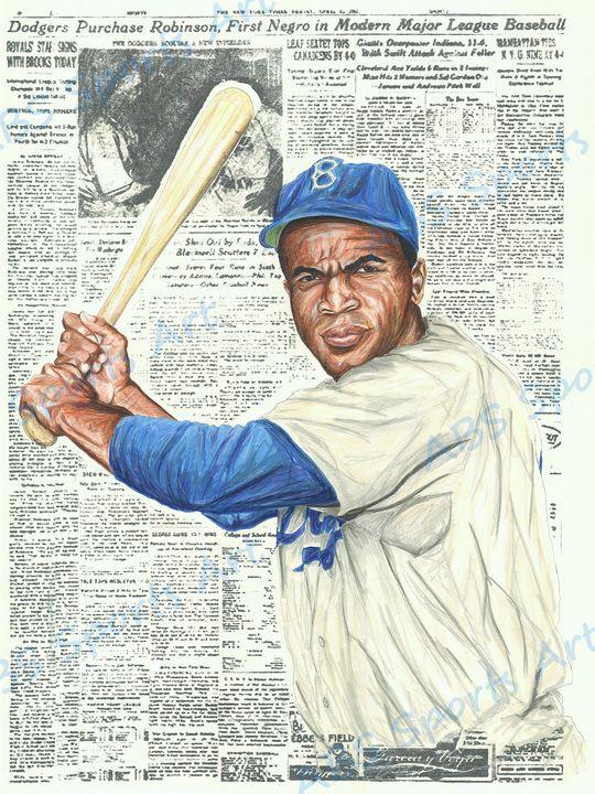 Jackie Robinson Headline Art Print - ABS Sports Art & ABS Wood Works