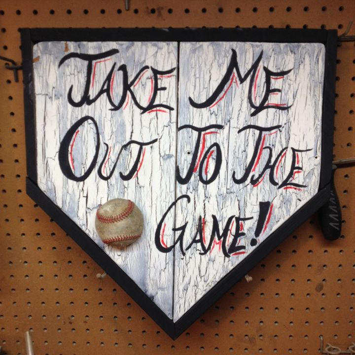 Take Me Out To Ball Game Wood Sign - ABS Sports Art & ABS Wood Works