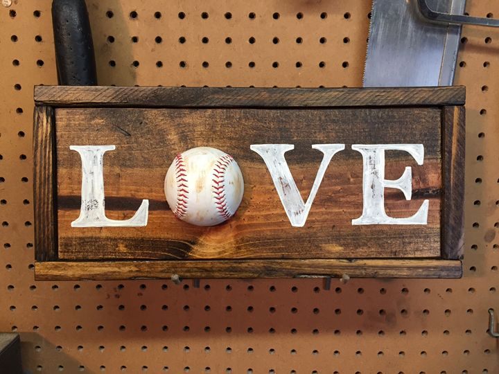 LOVE Baseball Rustic Wood Sign - ABS Sports Art & ABS Wood Works