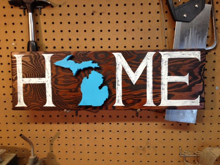 Michigan Home Rustic Wood Sign - ABS Sports Art & ABS Wood Works