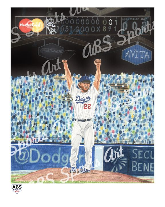 Clayton Kershaw Limited Ed. Print - ABS Sports Art & ABS Wood Works