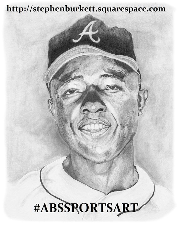 Hank Aaron 8 x 10 Inch Print - ABS Sports Art & ABS Wood Works