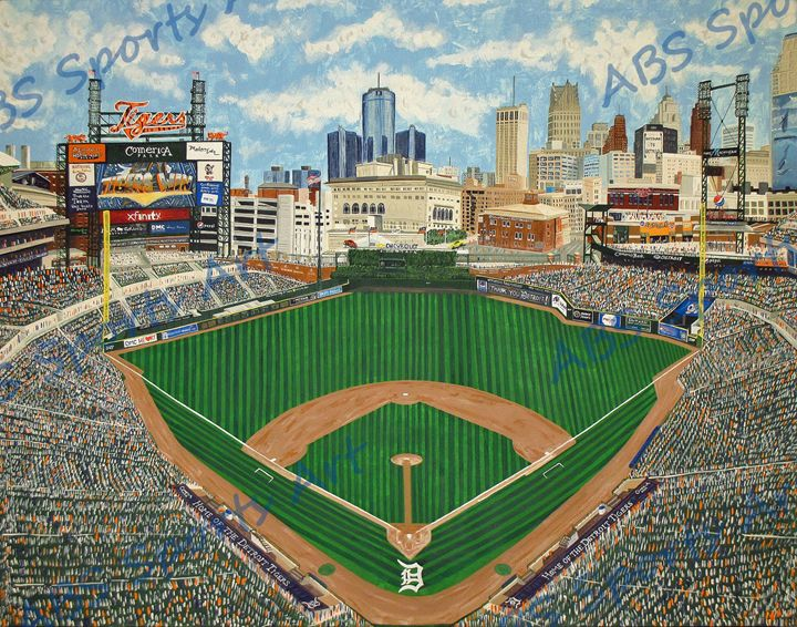 """Second Home"" Comerica Park Print - ABS Sports Art & ABS Wood Works"