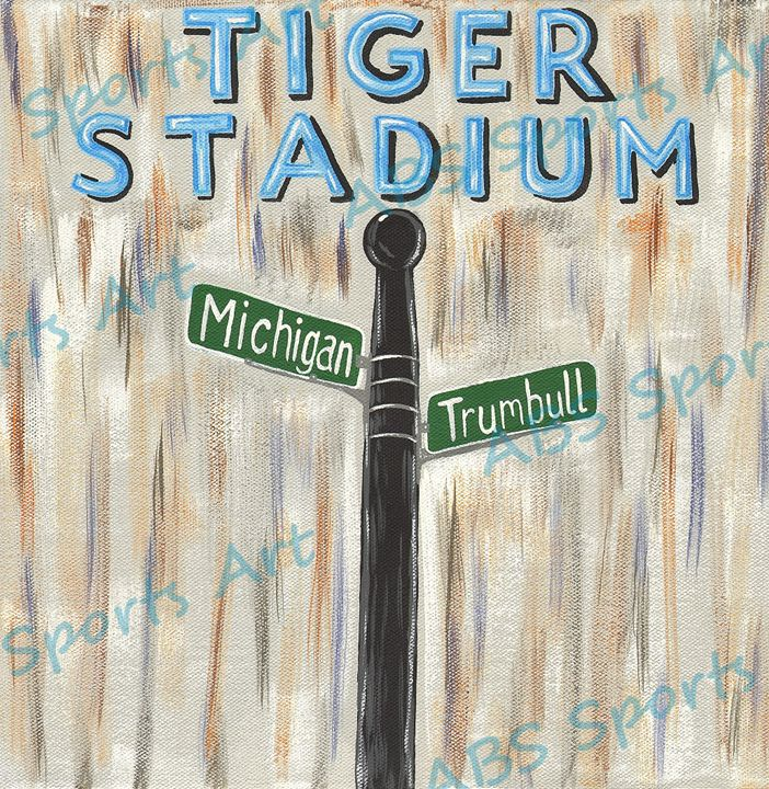 Tiger Stadium Minimalist Painting - ABS Sports Art & ABS Wood Works