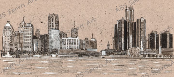 Detroit Skyline Black and Tan Series - ABS Sports Art & ABS Wood Works