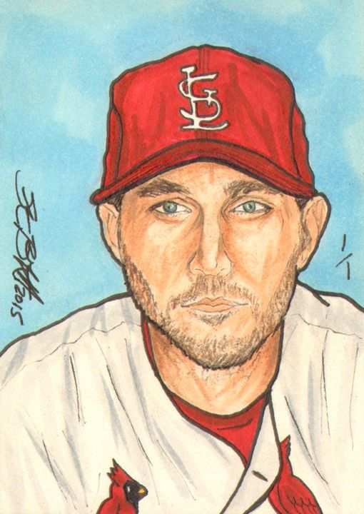 Adam Wainwright Sketch Card 1/1 - ABS Sports Art & ABS Wood Works