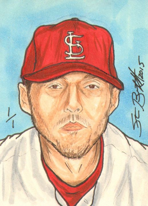 John Lackey Sketch Card 1/1 - ABS Sports Art & ABS Wood Works