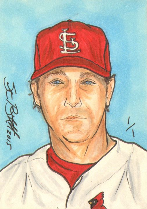 Mike Matheny Sketch Card 1/1 - ABS Sports Art & ABS Wood Works