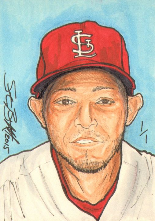 Yadier Molina Sketch Card 1/1 - ABS Sports Art & ABS Wood Works