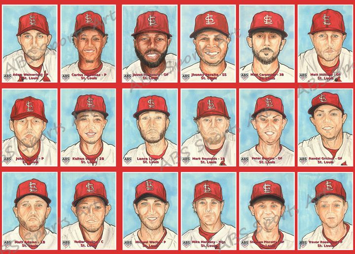 Cardinals Reprint Sketch Card Set - ABS Sports Art & ABS Wood Works