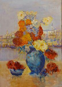 Flowers in blue vase and Belgrade I