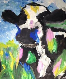 Cow in Flower Field