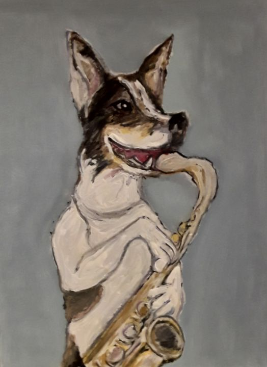 Dog jazz - Reeds gallery - Paintings & Prints, Animals, Birds, & Fish, Dogs  & Puppies, Other Dogs & Puppies - ArtPal