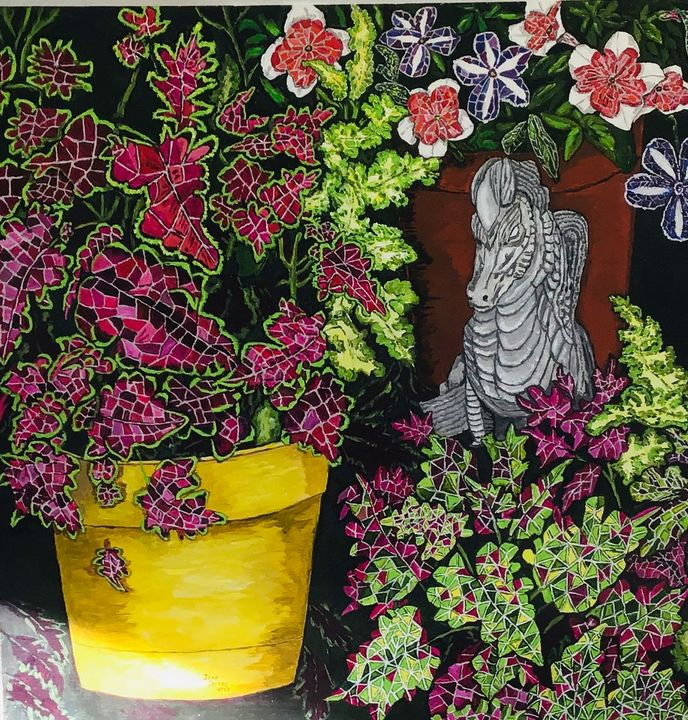 Cleomes & Petunias - Jean Savage Art
