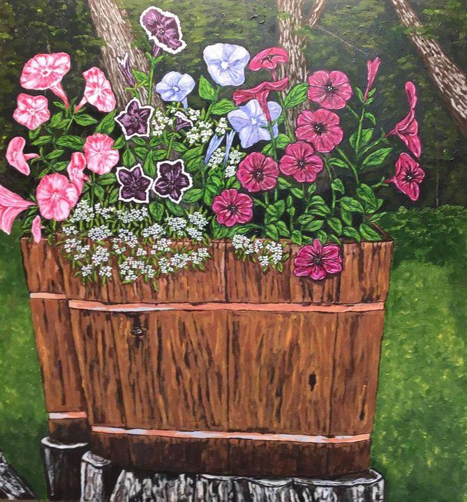 Oaken Buckets With Petunias - Jean Savage Art