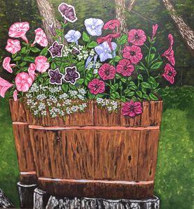 Oaken Buckets With Petunias
