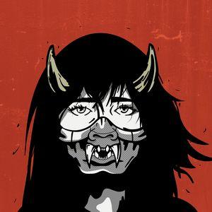 Red Inked Original Female Mask