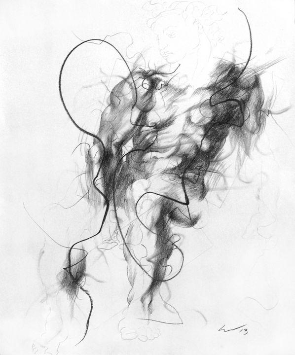 Small Ignudo 9 (after Michelangelo) - Richard Claraval Art