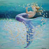 Original painting mermaid on canvas