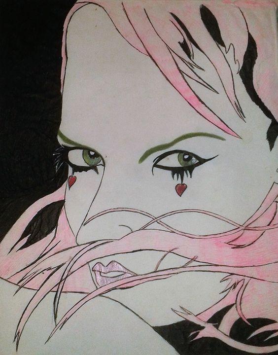 Pink hair girl heart - artstudent82