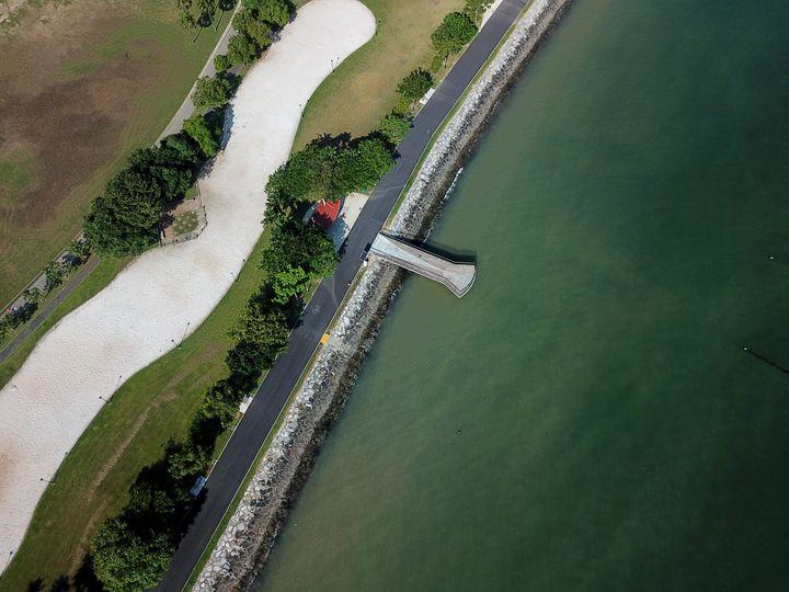 Aerial shot of Shoreline and Ocean - CaptainMavicPro