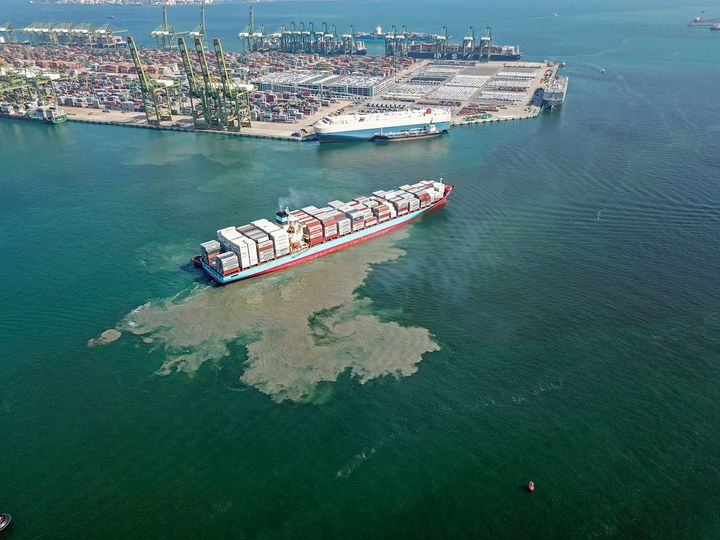 Aerial view of Container Ship - CaptainMavicPro