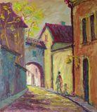 Vilnius Old Town oil painting