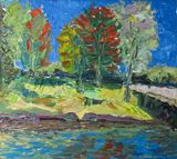Riverside original oil painting