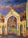 Church Gates original oil painting