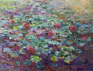 Water lilies in the deep pond