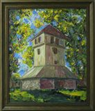 Church Bell Tower oil painting