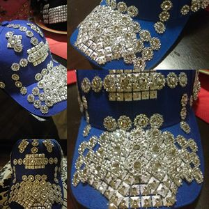 Sliver blue bling custom made hat