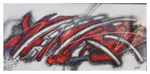 "EXTRA LARGE Abstract ""Blanco y Rojo"
