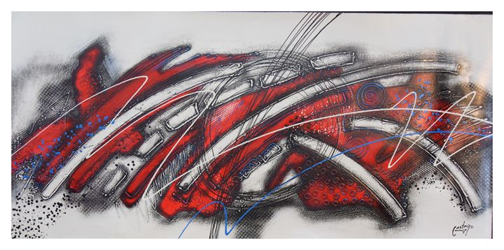 "EXTRA LARGE Abstract ""Blanco y Rojo - CastanoGallery"