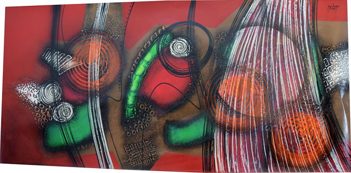 "EXTRA LARGE Abstract ""Rojo Entre Lin - CastanoGallery"
