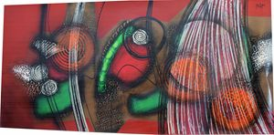 "EXTRA LARGE Abstract ""Rojo Entre Lin"