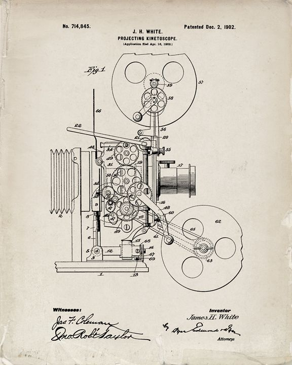 1902 Projector Patent - Old Paper - Patent Prints