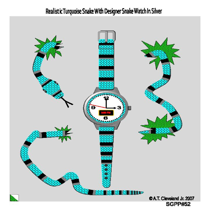 Realistic Turquoise Snake And Watch - AC'S Unique Snake Art