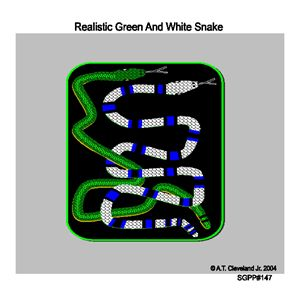 Realistic Green And White Snake