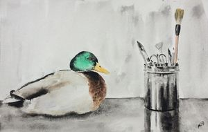 Pencil box and a duck