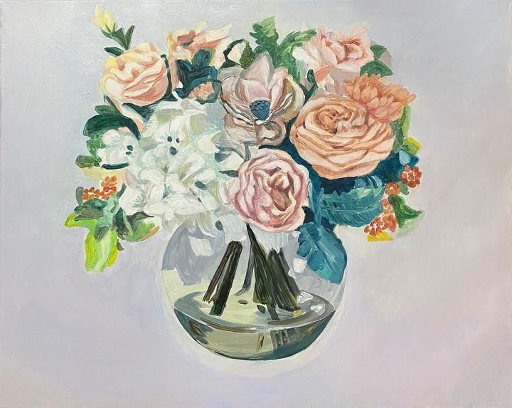 Assorted Flowers Rose Bowl - ACAcrylicPaintings