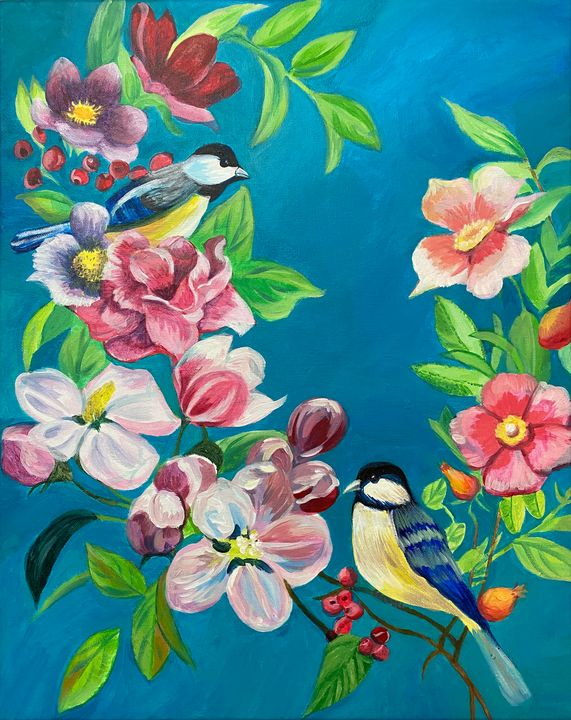 Birds and Flowers Painting - ACAcrylicPaintings