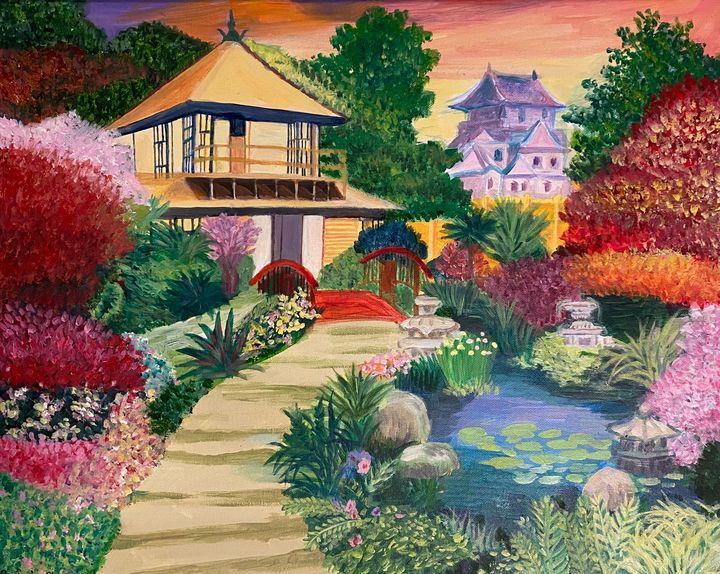 Japanese Garden Painting - ACAcrylicPaintings