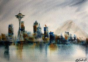 Seattle Skyline - Semi Abstract